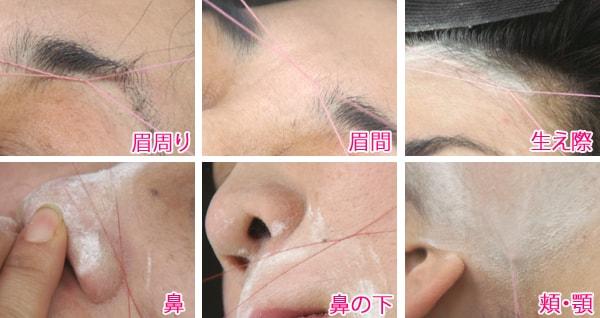 顔の部位ごとの糸除毛