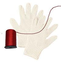 糸除毛で使う手袋と糸