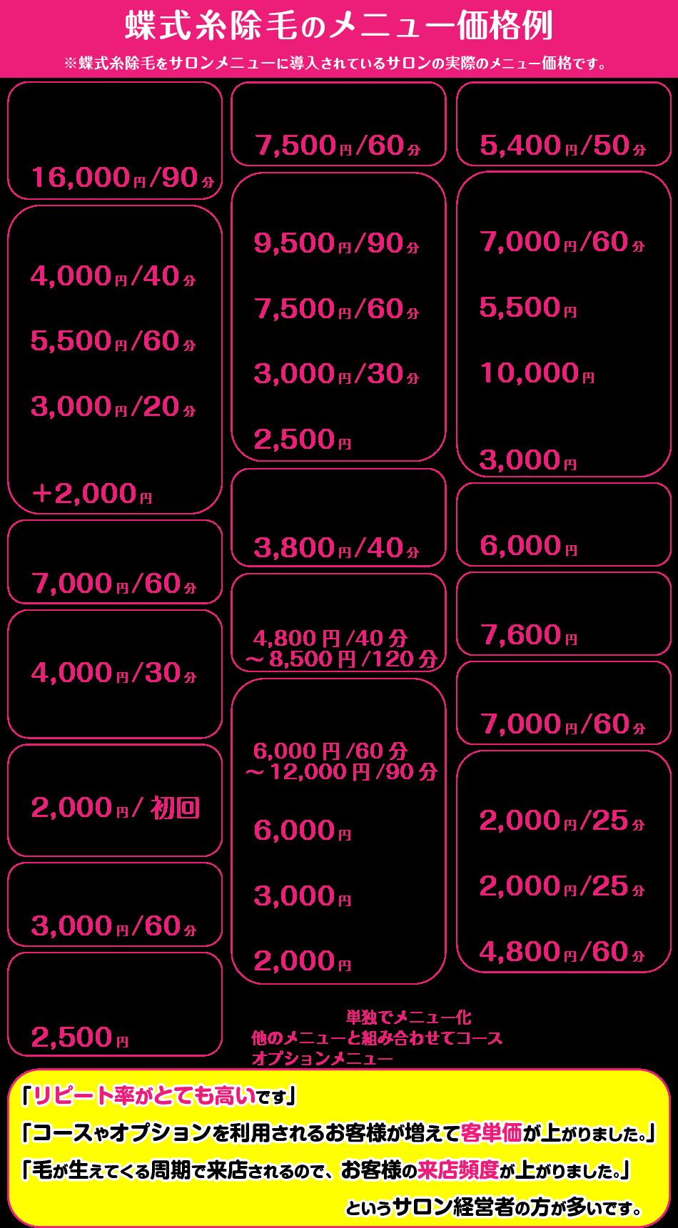 スレッディング糸除毛の価格例