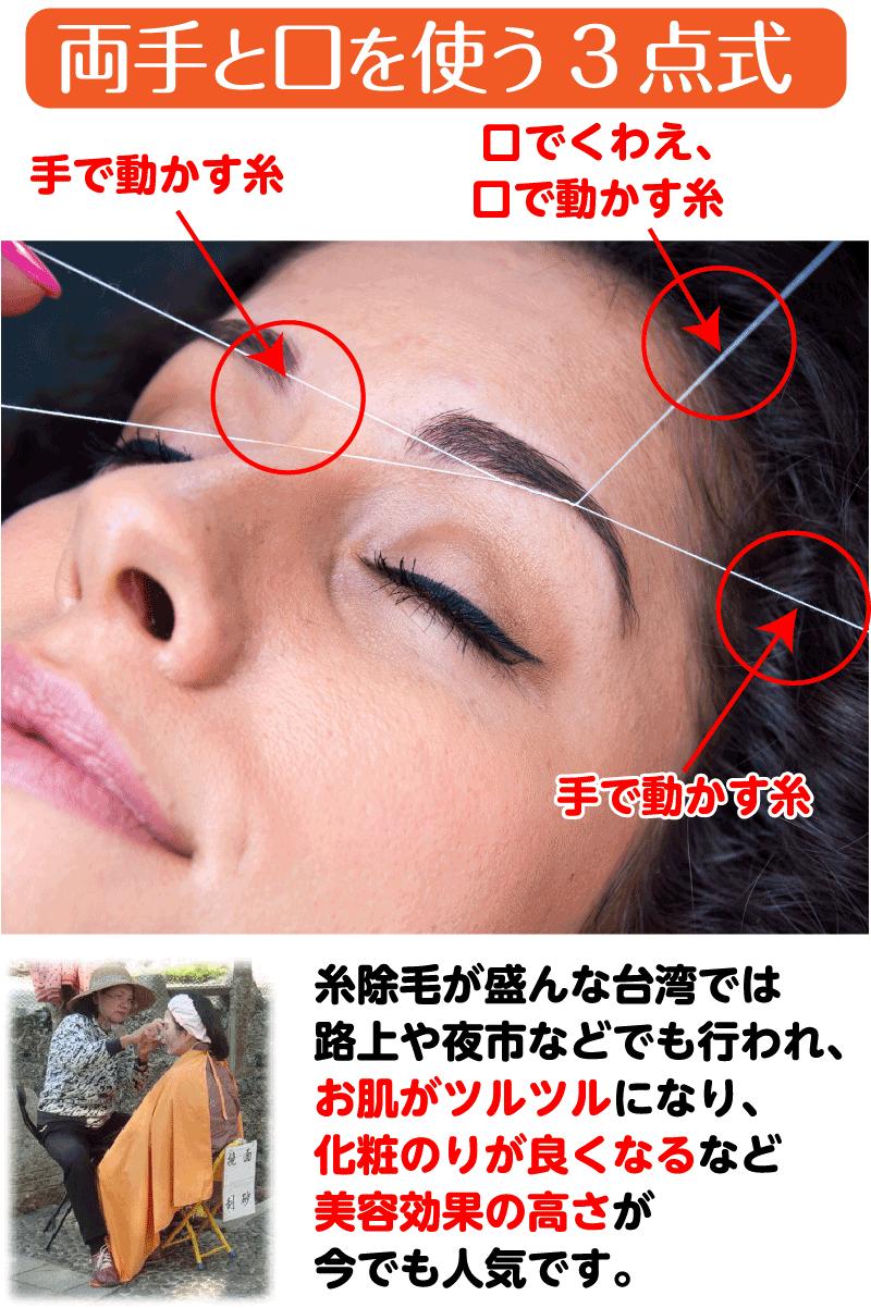 伝統的な糸での脱毛方法